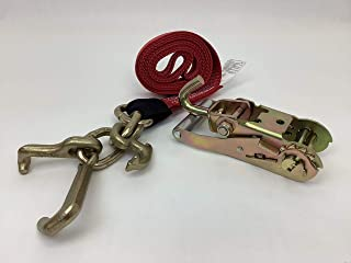 product image for Safe 'n Secure RTJ Cluster Hook Frame Strap and Ratchet Auto Tie Down Tow Truck Roll Back Car Hauler Wrecker (1, Red & Swivel-J Ratchet)