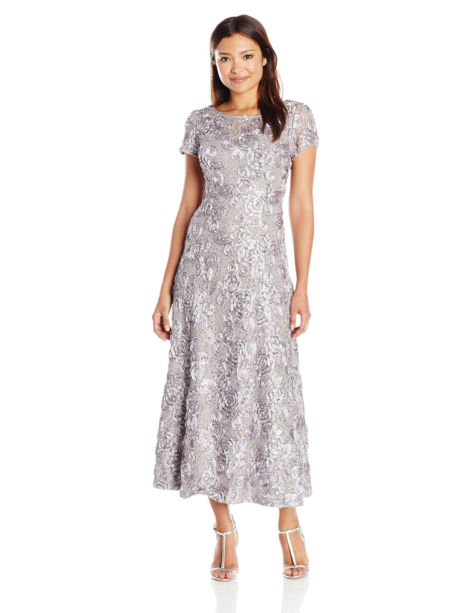Alex Evenings Women's 16P Long A-Line Rosette Dress with Short Sleeves Sequin Detail, Dove, 16P