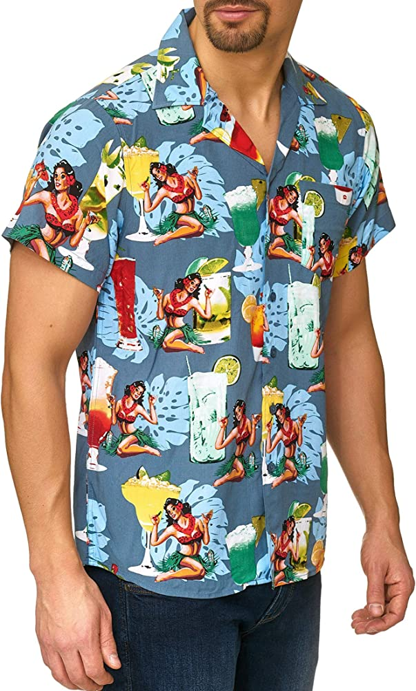 Indicode Caballero Charlton Camisa Hawaiana con Bolsillo en el Pecho de 100 % Viscosa | Regular Fit Manga Corta Camisa Vacaciones Verano, Sol, mar y Playa Informal para Hombres China Blue XXL: