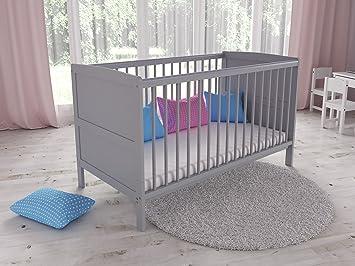 Babybett Gitterbett Kinderbett 120x60 Grau//Weiß ohne Matratze NEU mit Schublade