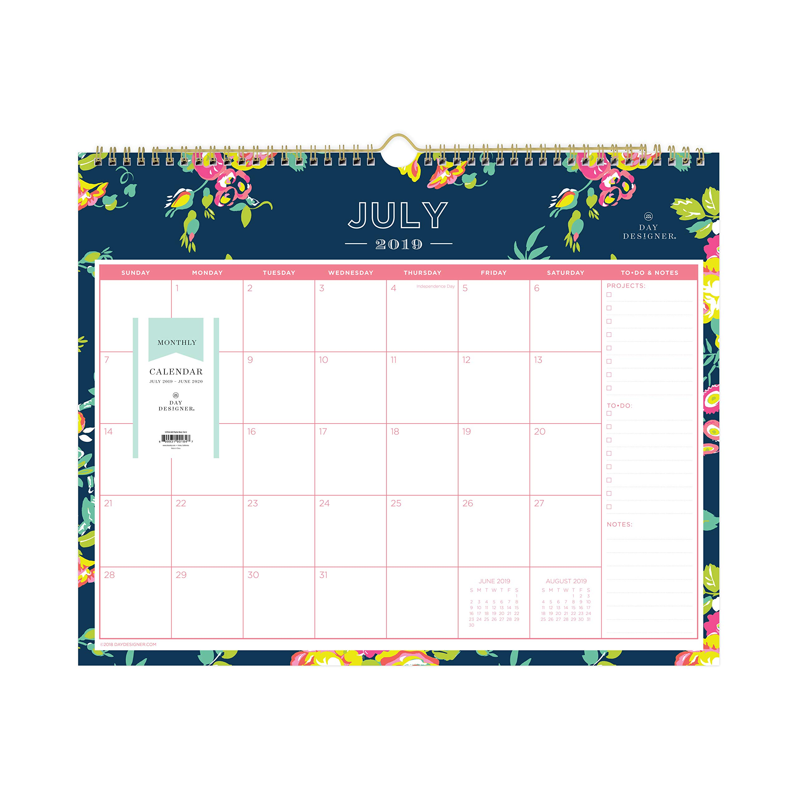 Day Designer for Blue Sky 2019-2020 Academic Year Monthly Wall Calendar, Twin Wire Binding, 15'' x 12'', Peyton Navy by Blue Sky