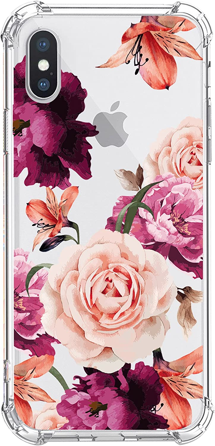 KIOMY Case for iPhone Xs iPhone X for Girls Women Clear with Cute Flower Design Shockproof Bumper Protective Floral Cell Phone Back Cover Flexible Slim Fit Soft Rubber Skin for Apple iPhone Xs 10 Ten