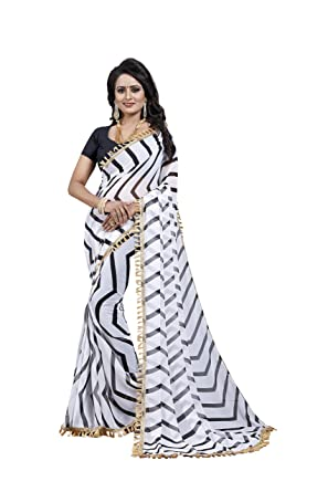 f353016cd97d9 Vishnu Creations Women s Georgette Saree With Blouse Piece (1835  White    Black  Free ...