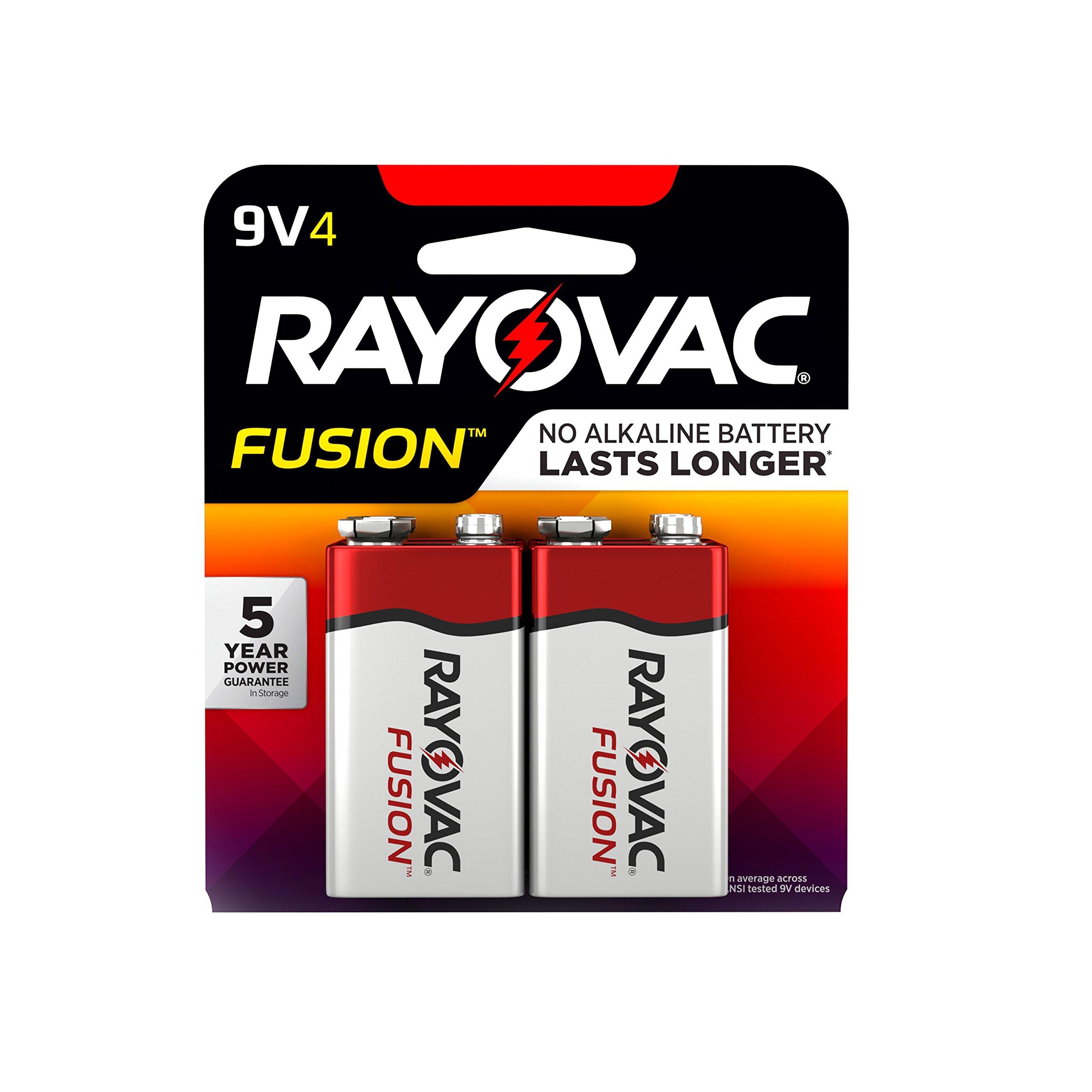 RAYOVAC 9V 4-Pack FUSION Premium Alkaline Batteries, A1604-4TFUSK