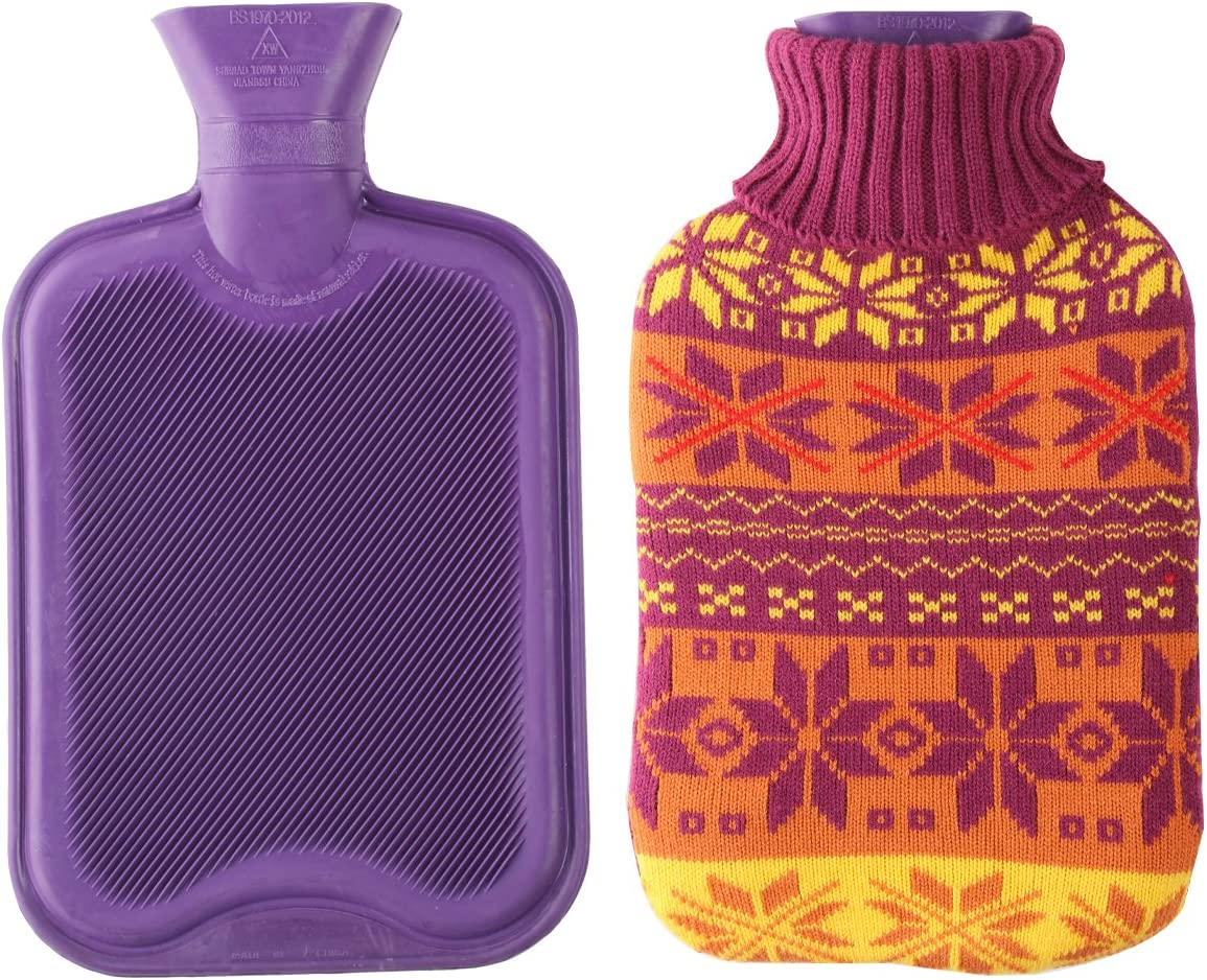 2 Liter Premium Classic Rubber Hot Water Bottle w/Cute Knit Cover (2 Liter, Purple/Snowflake): Health & Personal Care