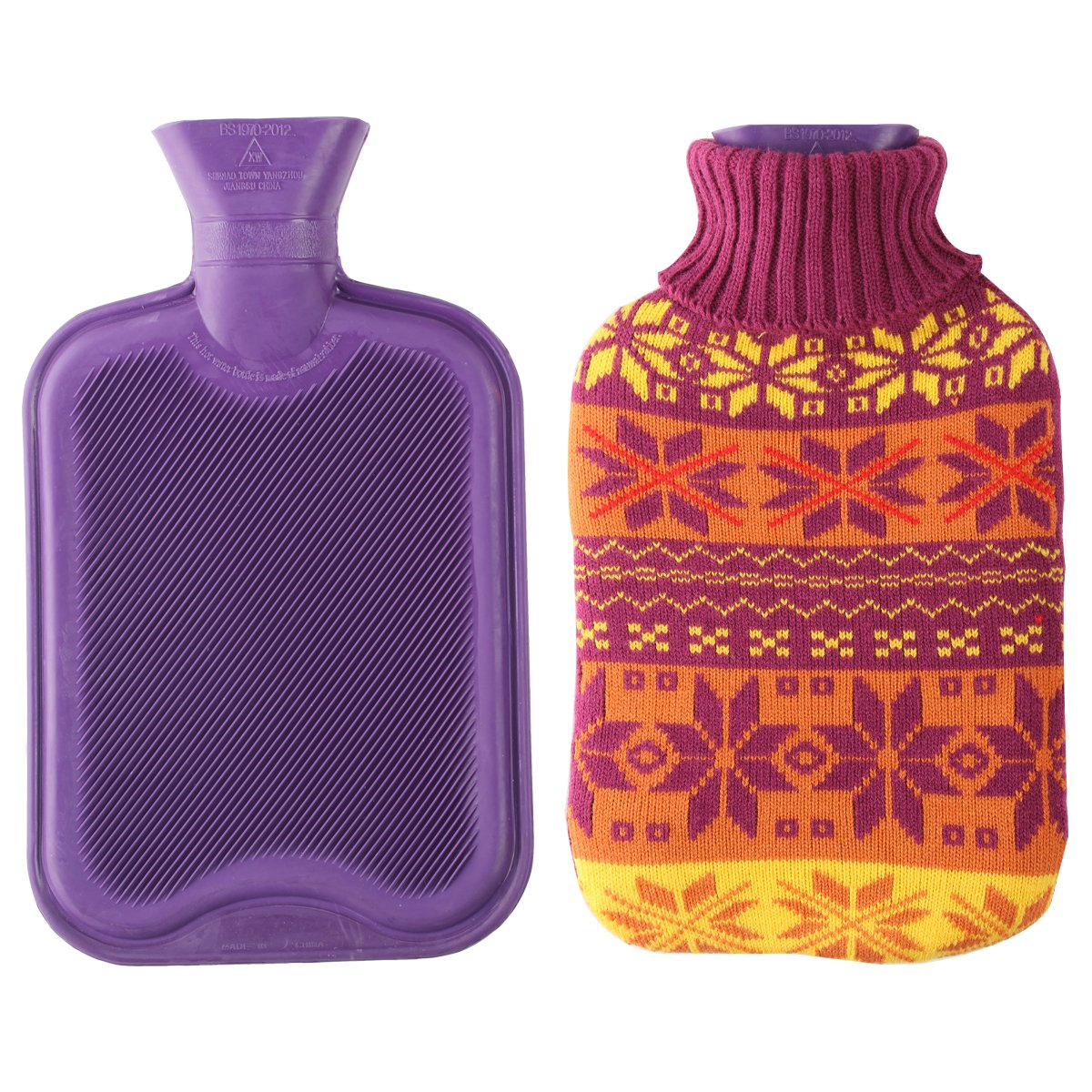 2 Liter Premium Classic Rubber Hot Water Bottle w/Cute Knit Cover (2 Liter, Purple/Snowflake) by HomeTop