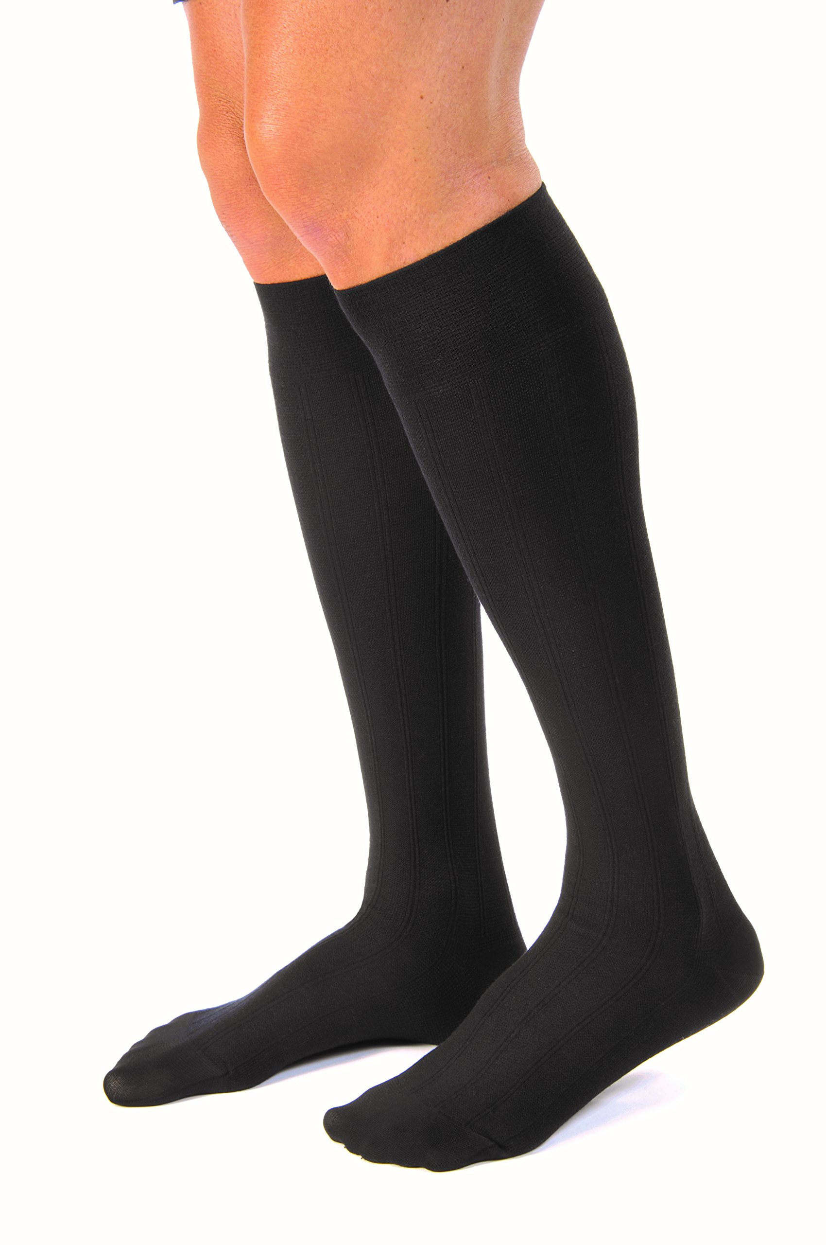 JOBST forMen Casual 20-30 mmHg Knee High Compression Socks, Black, Large by JOBST