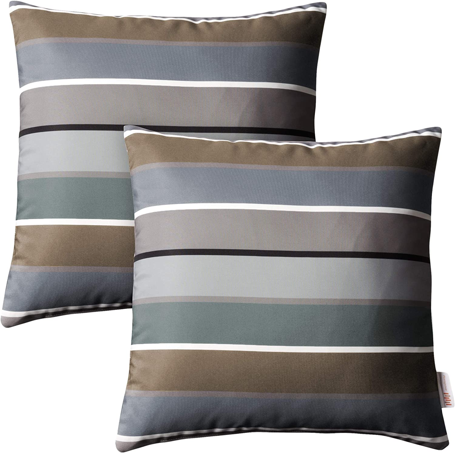Modway Outdoor Indoor Two All Weather Patio Throw Pillows in Stripe