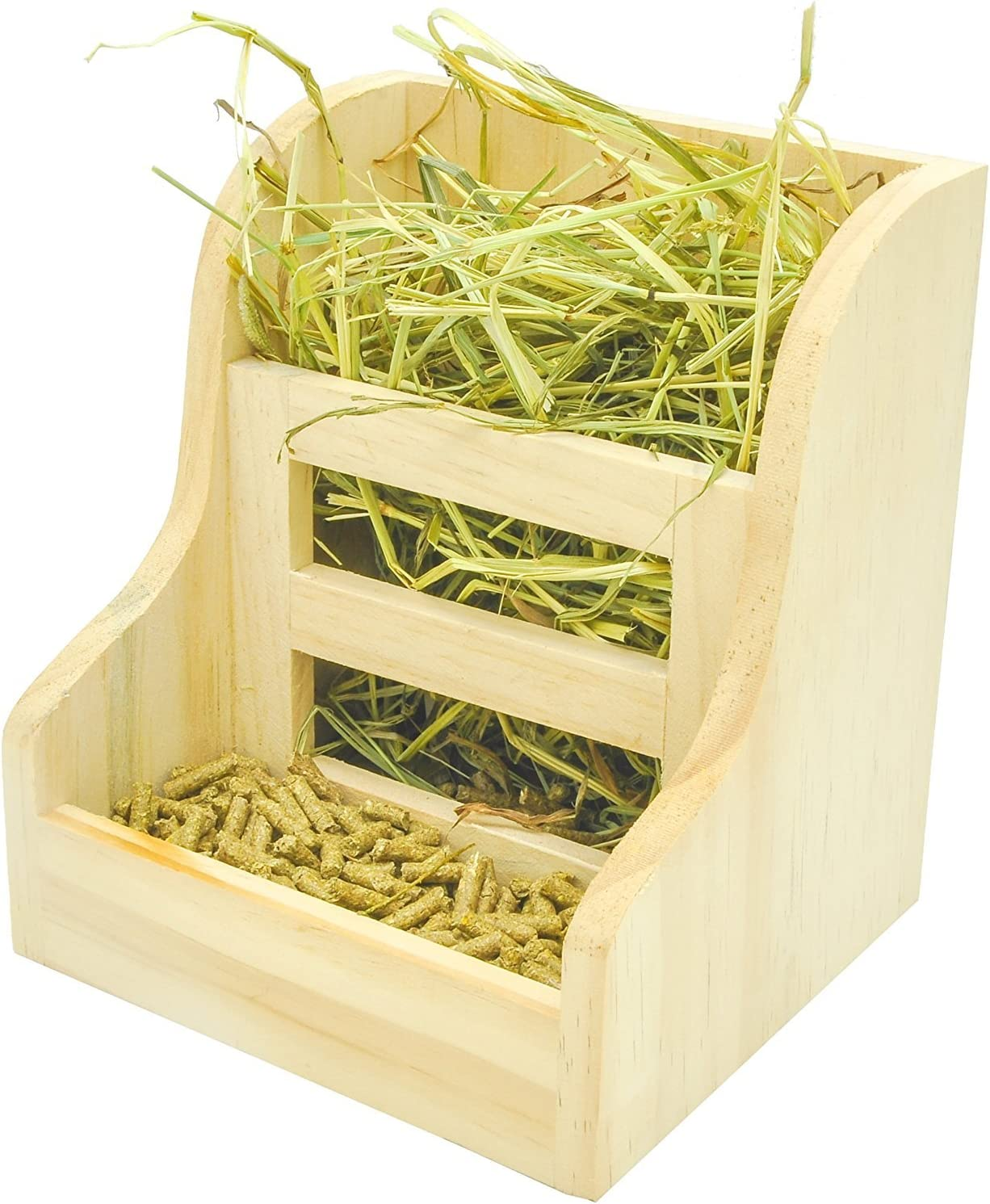 Niteangel Grass and Food Double Use Feeder, Wooden Hay Manger for Rabbits, Guinea Pigs