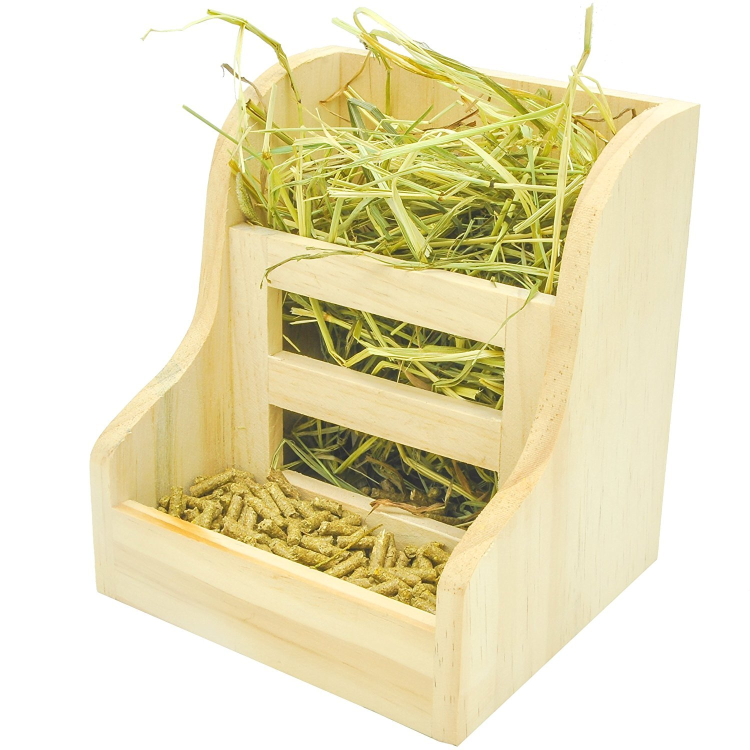Niteangel Grass and Food Double Use Feeder, Wooden Hay Manger for Rabbits, Guinea Pigs (7'' x 6.3'' x5.8'')