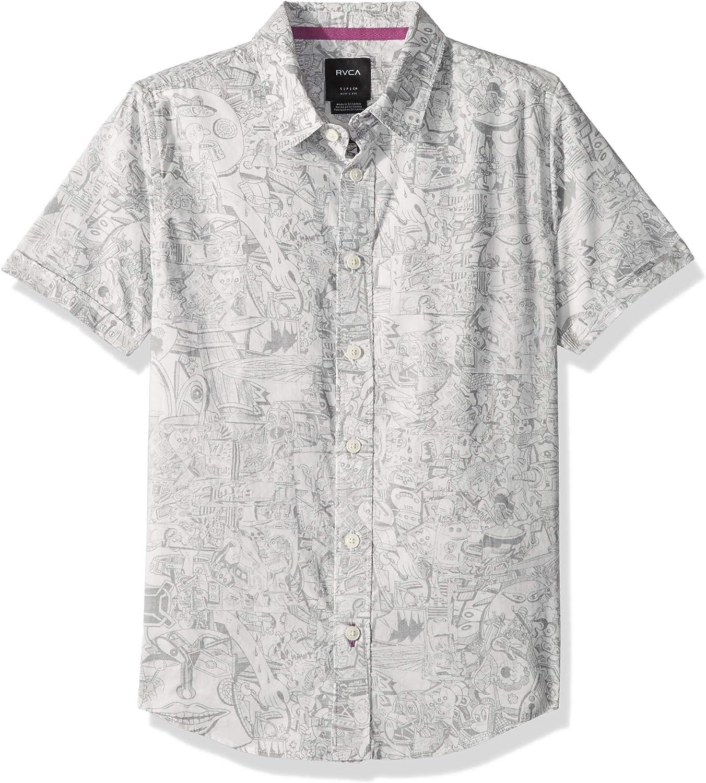 RVCA Boys Big Name Short Sleeve Woven Shirt