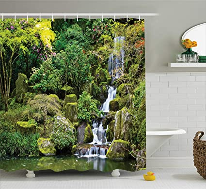 Ambesonne Country Home Decor Shower Curtain Set Pond In Asian Style Garden Arboretum Trees Bush
