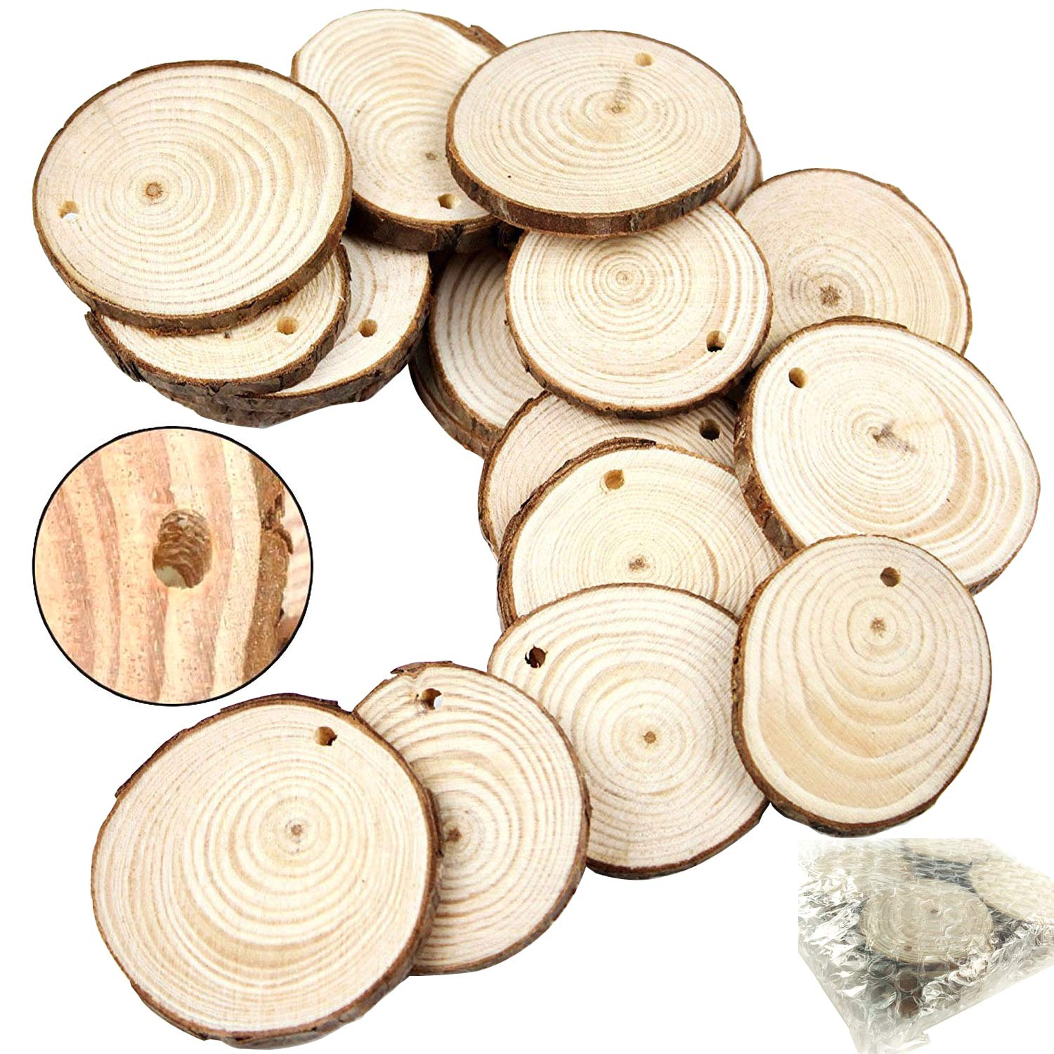 JPSOR 50pcs 1.6-2 Unfinished Predrilled Natural Wood Slices Goodlucky 4336907170