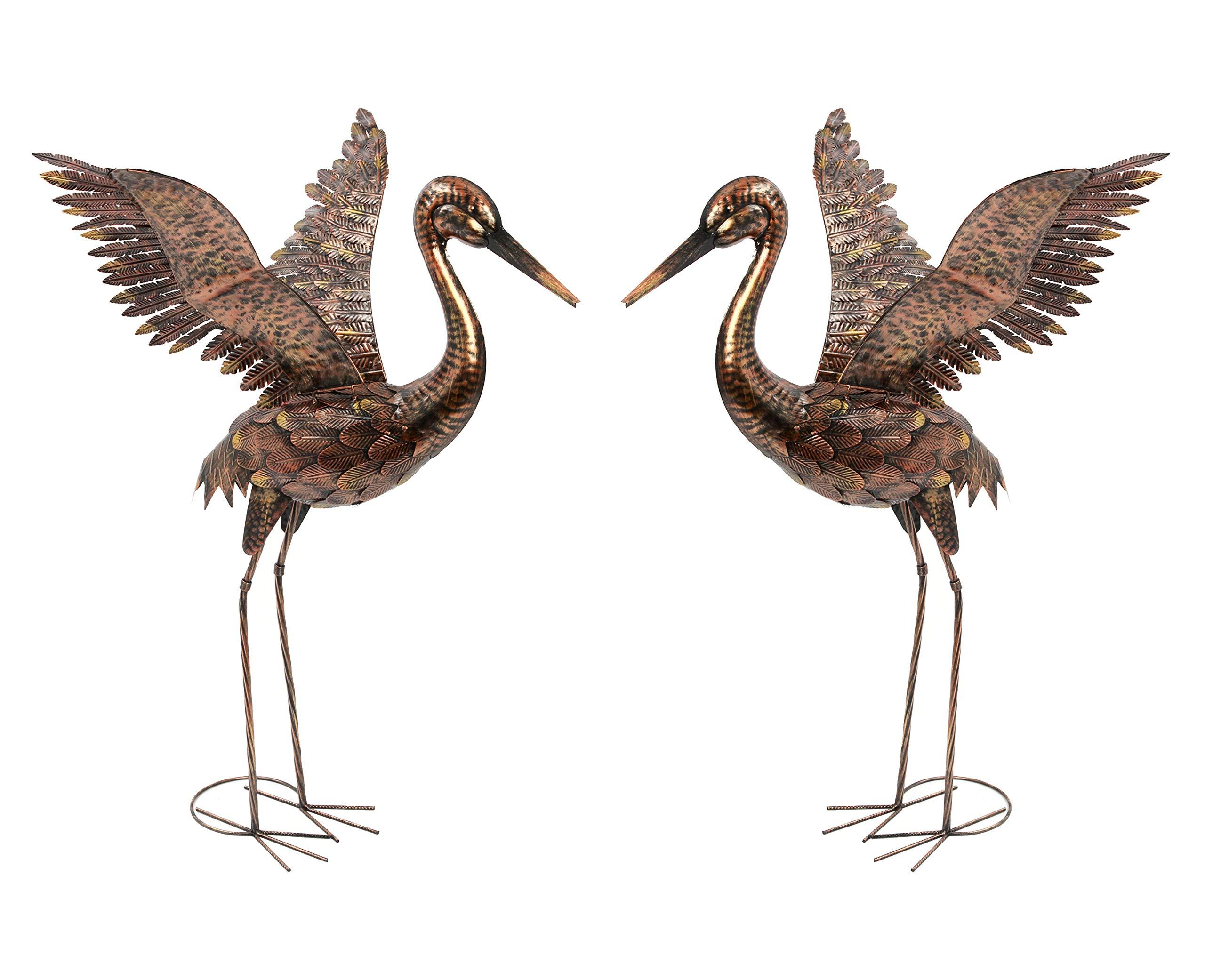 Wonders Shop Outdoor/Indoor Accent Metal Crane 42'' Patina Figurine Statues Bird 2pcs