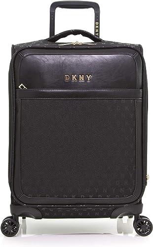 DKNY Signature Softside Spinner Luggage with TSA Lock, Black, 22 Inch