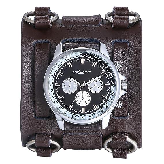 ffe48800536f Avaner Reloj de Pulsera Grande Hip Hop para Hombre, Reloj de Cuero Correa  Ancha de Estilo Piloto, Marron Bronce Reloj Original Regalo para Hombres