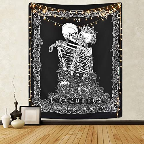 Skull Tapestry Skeleton Lovers Tapestry Death Tarot Card Tapestry Black and White Tapestries for Room