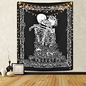 Sevenstars Skull Tapestry The Kissing Lovers Tapestry Black Tarot Tapestry Human Skeleton Tapestry for Room