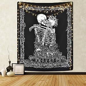 Sevenstars Skull Tapestry The Kissing Lovers Tapestry Black Tarot Tapestry Human Skeleton Tapestry for Room