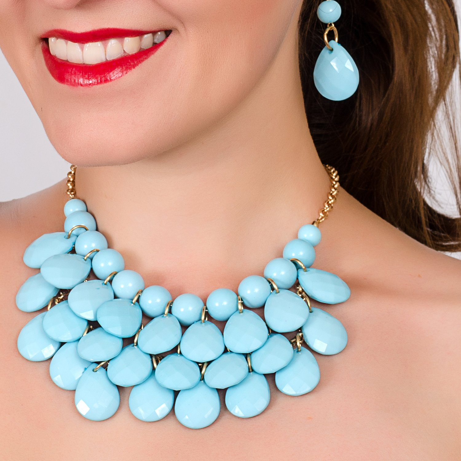 Vintage Style Jewelry, Retro Jewelry Jane Stone Fashion Floating Bubble Necklace Teardrop Bib Collar Statement Jewelry for Women $10.89 AT vintagedancer.com
