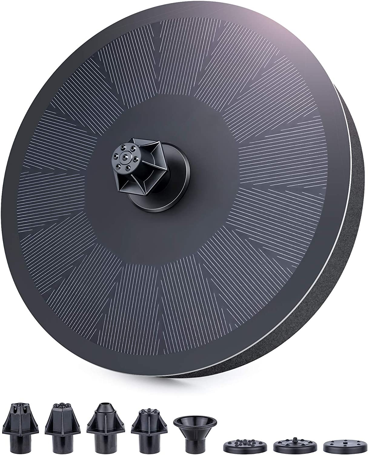 Upgraded 3W Solar Fountain Pump for Bird Bath, Bligli Solar Powered Floating Fountain with 7 Nozzles, 1200mAh Battery Backup and Fixed Set, Outdoor Water Fountain Pump for Garden Pond Pool Backyard(1)