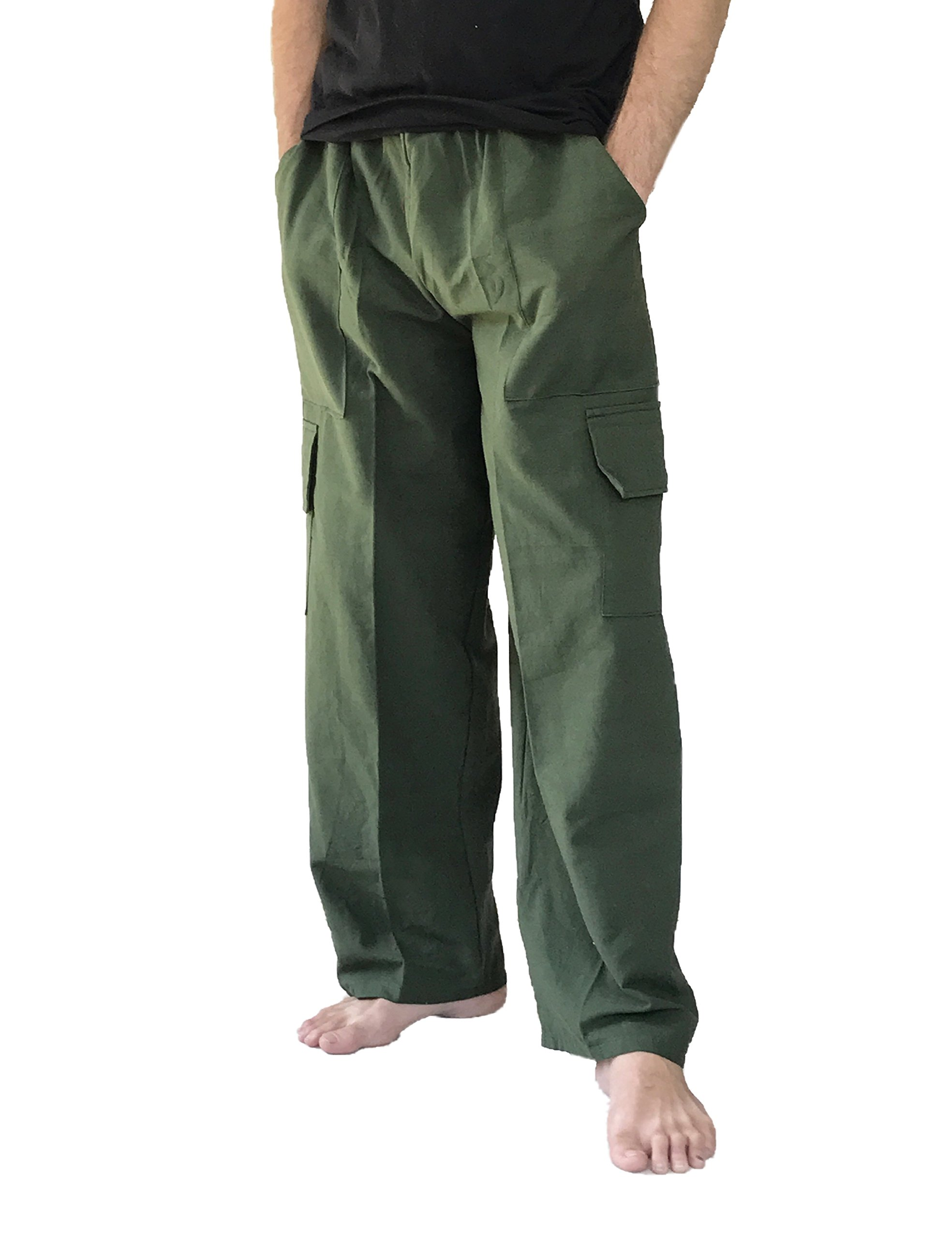 Love Quality Men's 100% Cotton Cargo Pants Plus Size Baggy Pants Drawstring Elastic Waist (Green)