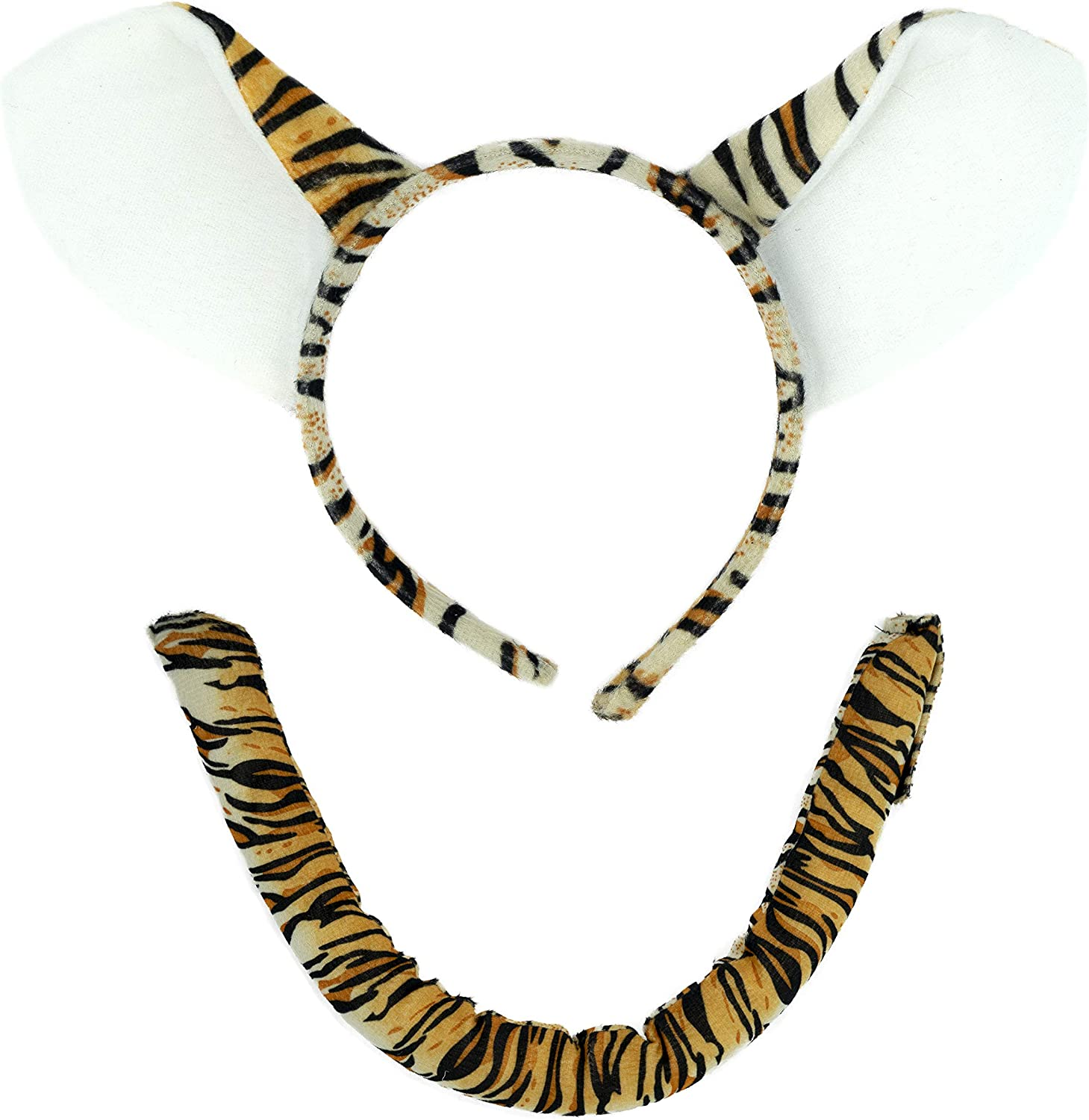 Tiger Headband Ears and Tail Costume Accessory Set - Fits Adults and Kids