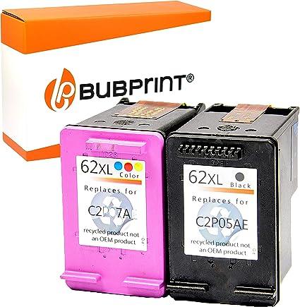 Bubprint 2 cartuchos de impresora compatible para HP 62 XL HP 62 X L hp62 X L para Envy e-All-in-One AIO 5540 5545 5548 5640 5660 Officejet 5742 Juego Negro Color: Amazon.es: Oficina y papelería
