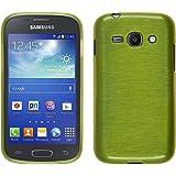 PhoneNatic Case für Samsung Galaxy Ace 3 Hülle Silikon pastellgrün brushed Cover Galaxy Ace 3 Tasche + 2 Schutzfolien