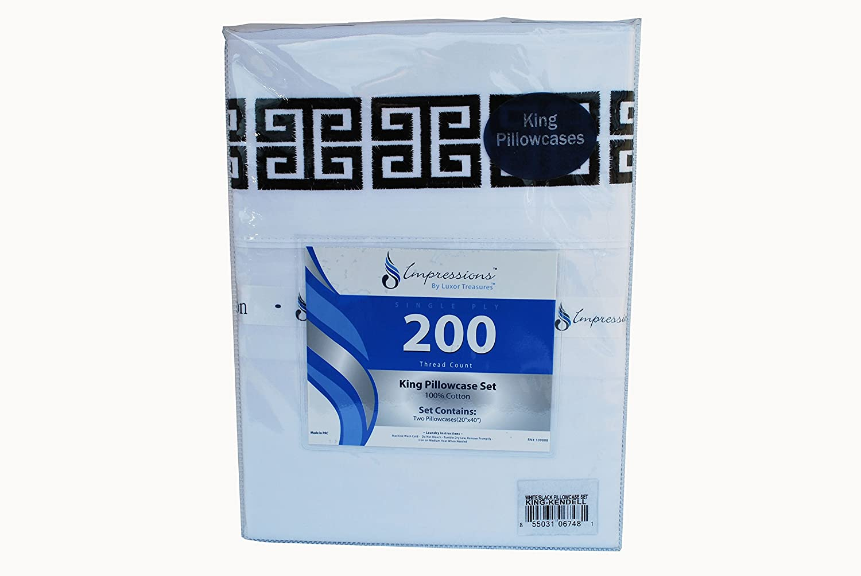 100/% Cotton Greek Key Embroidery White//Black Superior SD-KENDELL-PC-BK 2-Piece Standard Kendell Pillowcase Set Single Ply