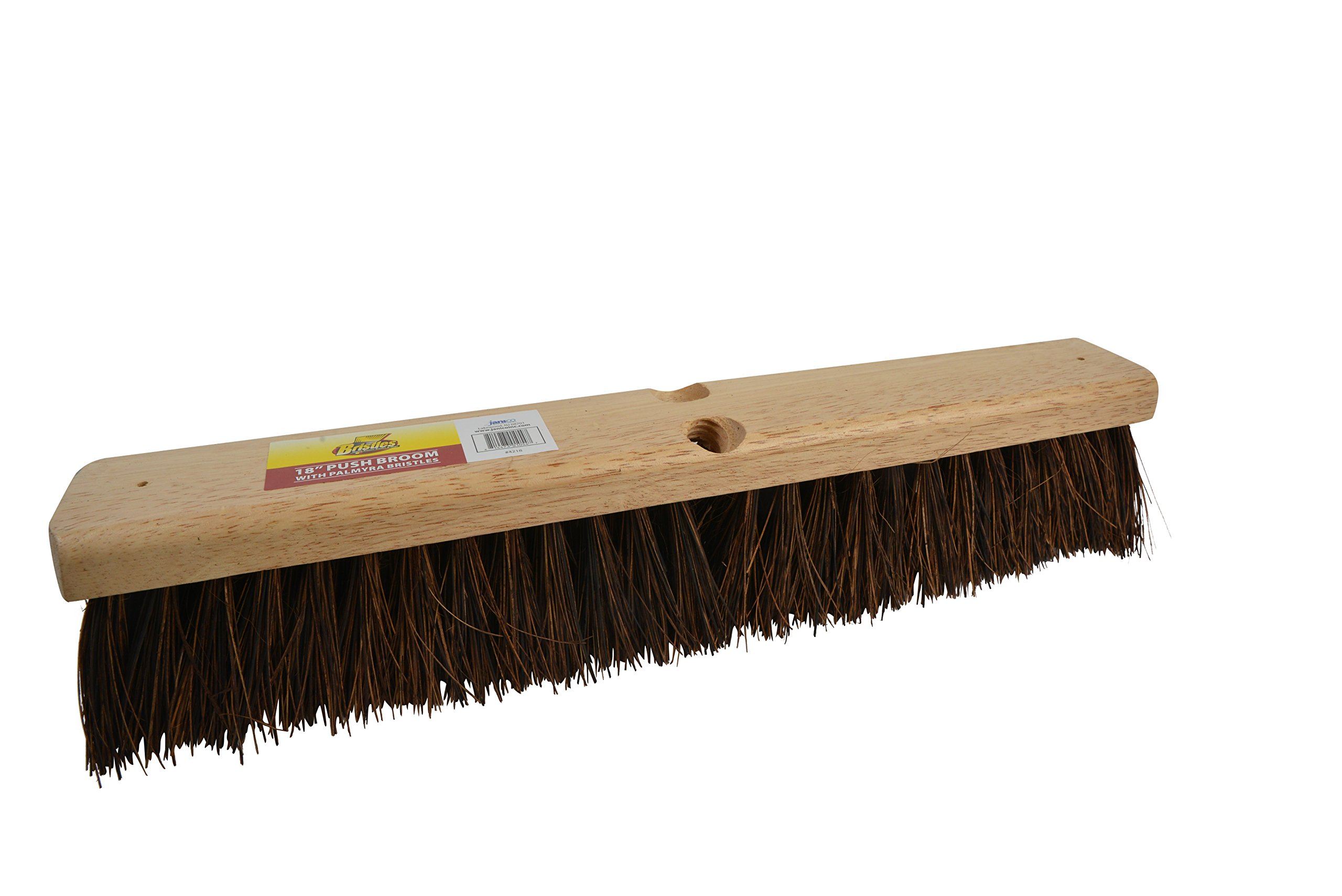 Bristles 4218 18'' Outdoor Push Broom Head - Heavy Duty Hardwood Block, Rough Surface Stiff Palmyra Fibers, Brown by Bristles