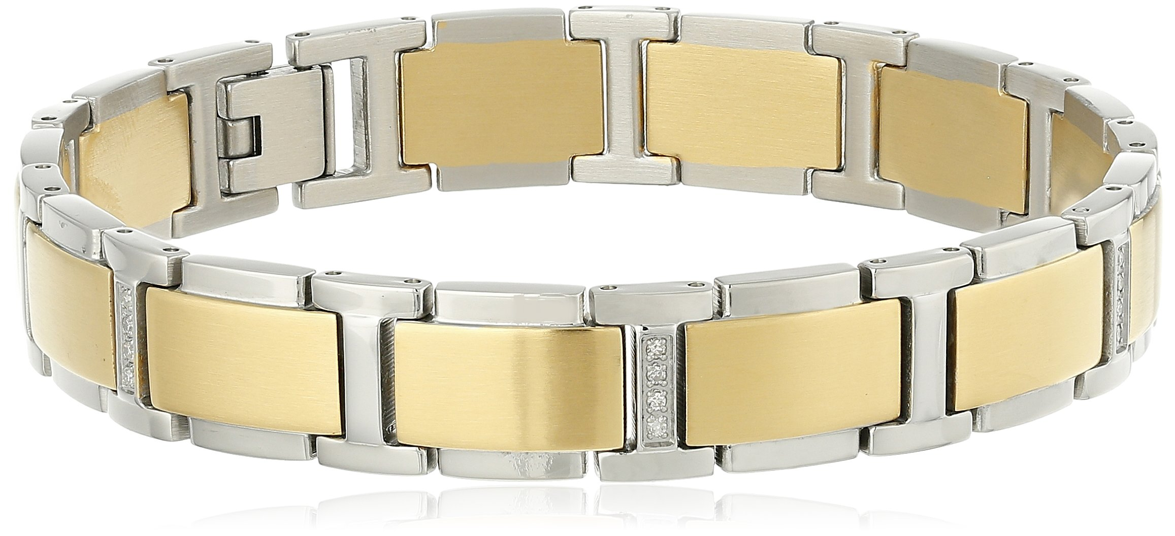 Men's Two-Tone Gold Stainless Steel Diamond Bracelet (0.15 cttw, H-I Color, I2-I3 Clarity), 8.5''