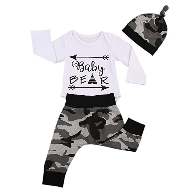a71b9b6fdcd05 3PCS Newborn Baby Boys Cute Letter Print Romper+Camouflage Pants+Hat  Outfits Set (