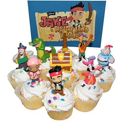 Amazon Disney Jake And The Never Land Pirates Figure Cake Toppers Cupcake Party Favor Decorations Set Of 9 Kitchen Dining