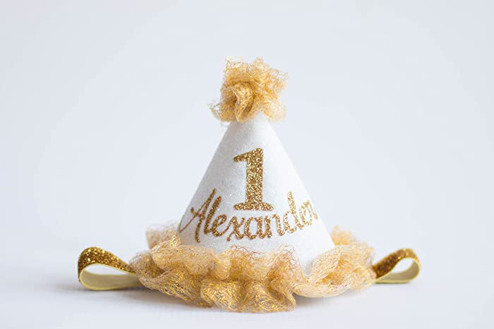 b32d3a52e5d Image Unavailable. Image not available for. Color  First Birthday  Personalized Mini Glitter Party Hat in Gold ...