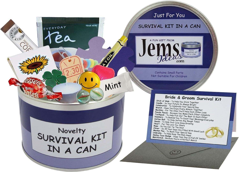 De la novia y el novio supervivencia-kit en una caja de. Humor regalo - Regalo para el día de la boda y tarjeta de en un favor/decisión de latas de colour puede