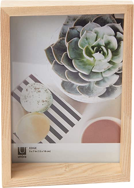 Wooden 4x6 and 5X7 Picture Frame and Photo Display for Desktop or Wall Umbra Edge Aged Walnut
