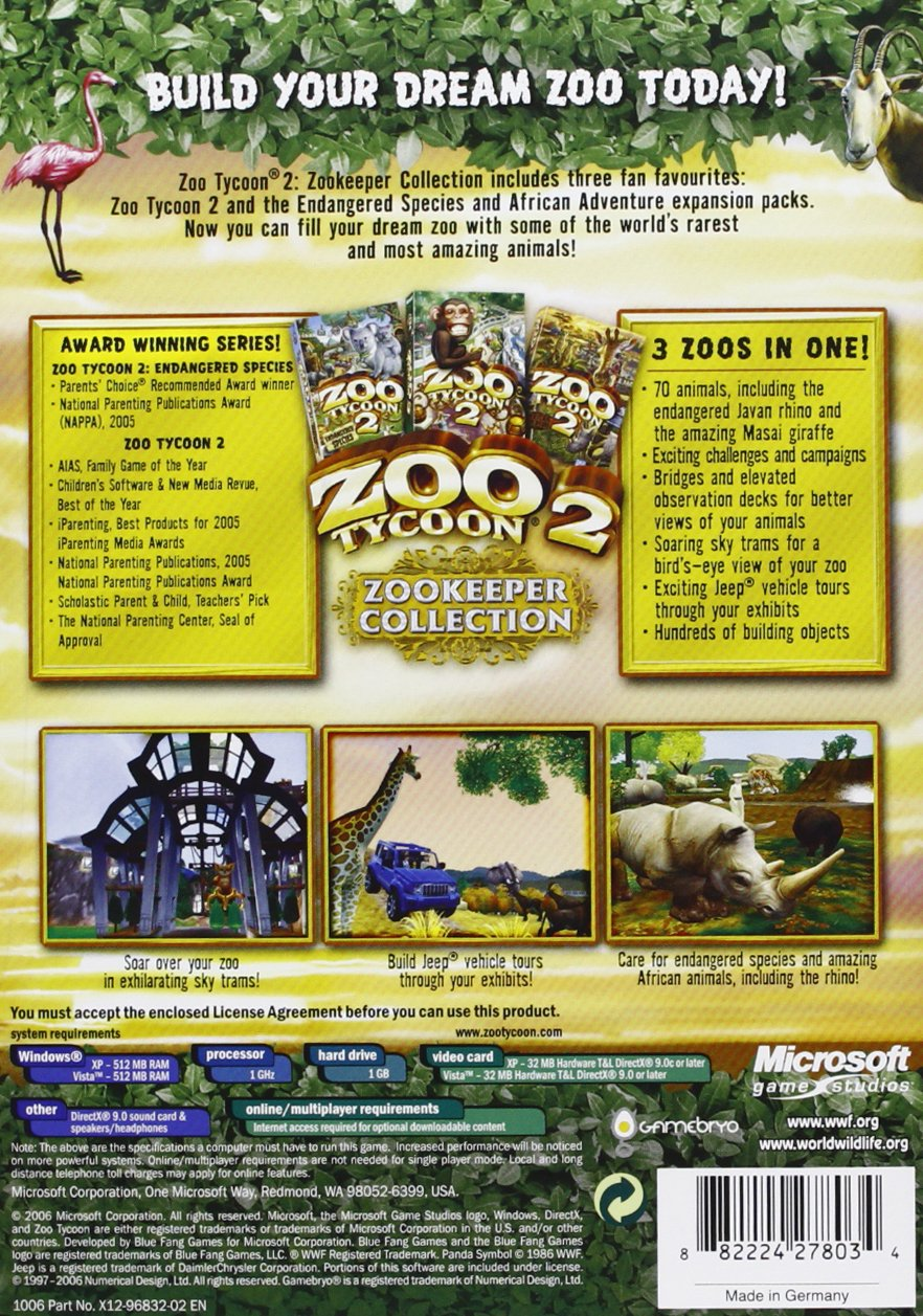 Amazon com: ZOO TYCOON 2 - ZOOKEEPER COLLECTION: Video Games