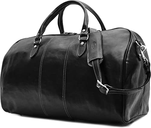 Floto Venezia Duffle Black Italian Leather Weekender Travel Bag