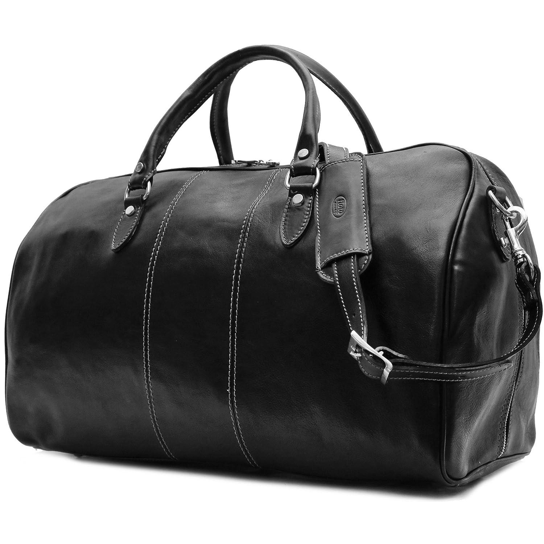 84407759e8cb Amazon.com   Floto Venezia Duffle Black Italian Leather Weekender Travel Bag    Travel Duffels