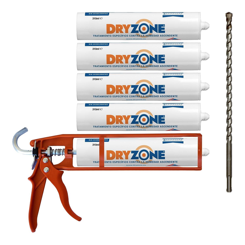 Kit de Impermeabilizació n Dryzone: 5 x Crema de Inyecció n DPC 310ml + Pistola de Masilla Cox + Broca Dryzone (Tratamiento contra la Humedad Ascendente) Safeguard Europe