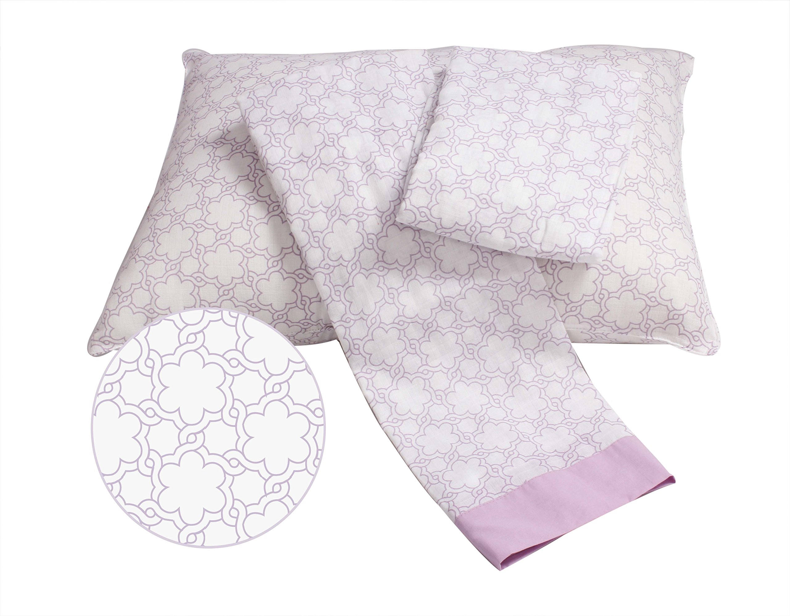 Bacati Floral Muslin 3 Piece Toddler Bedding Sheet Set, Lilac