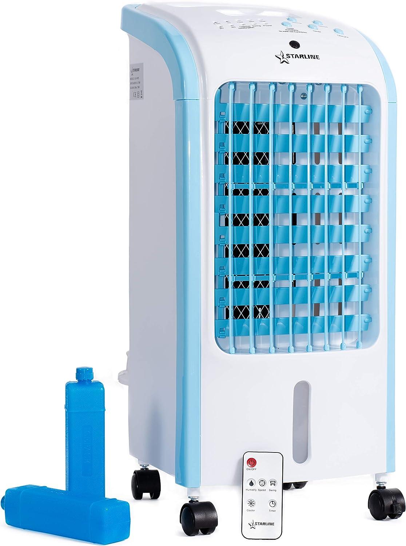 Ventilador con Humidificador Portatil 3 en 1 Climatizador Evaporativo Enfriador de Aire 4 Litros 2 bloques Acumuladores de frio para Congelador Mando a Distancia Programador de Desconexion Filtro