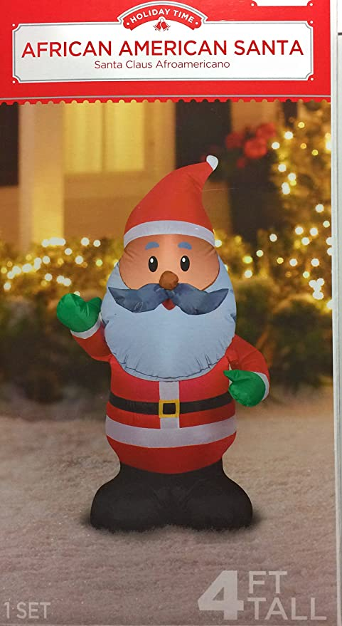 african american santa claus inflatable 4 foot holiday yard decoration by holiday time - African American Outdoor Christmas Decorations