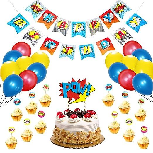 31 piezas de decoración de fiesta de cumpleaños de superhéroes Set, Banner Cake Topper y globos de látex fiesta temática Favores para niños
