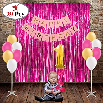 Party Propz Girls 1st Birthday Decoration 29pcs Combo 3 Pink Foil