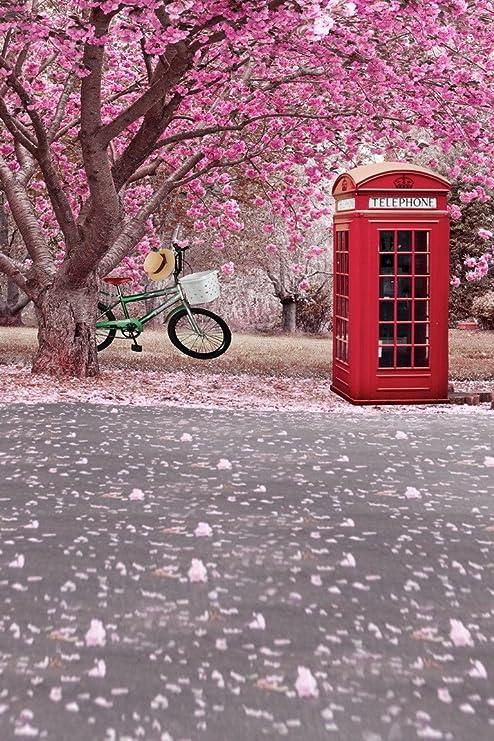 A.Monamour Rosa Flores De Cerezo Flor Árbol Bajo Bicicleta Cabina ...