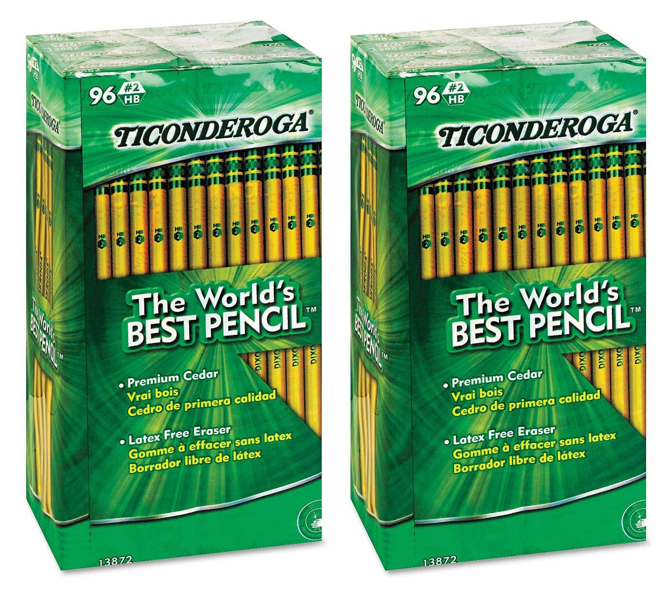 Ticonderoga Woodcase Pencil, HB #2, Yellow Barrel, 96/Pack