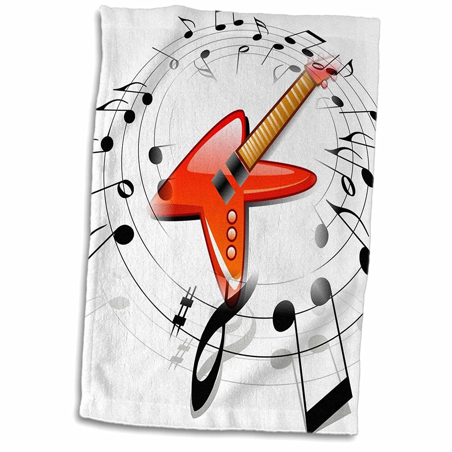 3D Rose Image of Red Guitar with Black Circling Notes Hand Towel 15' x 22'