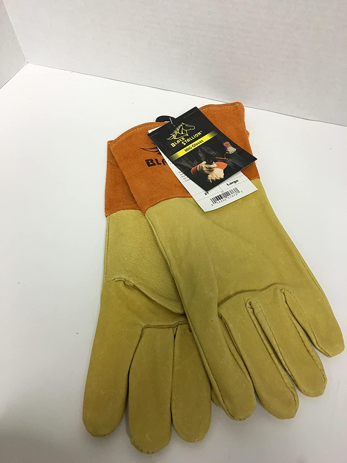Large Revco 27L Long Cuff Black Stallion 27 Premium Grain Pigskin MIG Welding Gloves